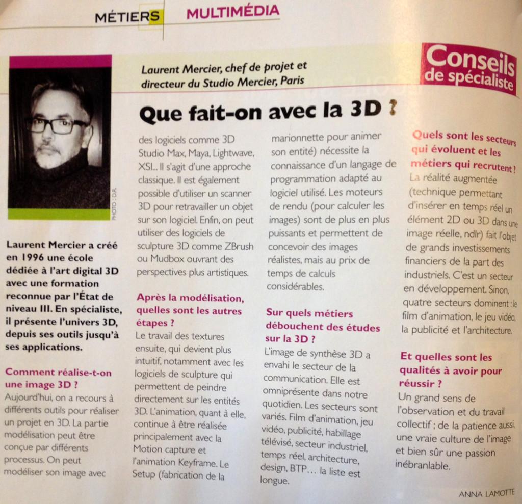 Interview de Laurent Mercier, Directeur de l'école 3D Studio Mercier, pour le Guide des Ecoles d'Art 2014/2015