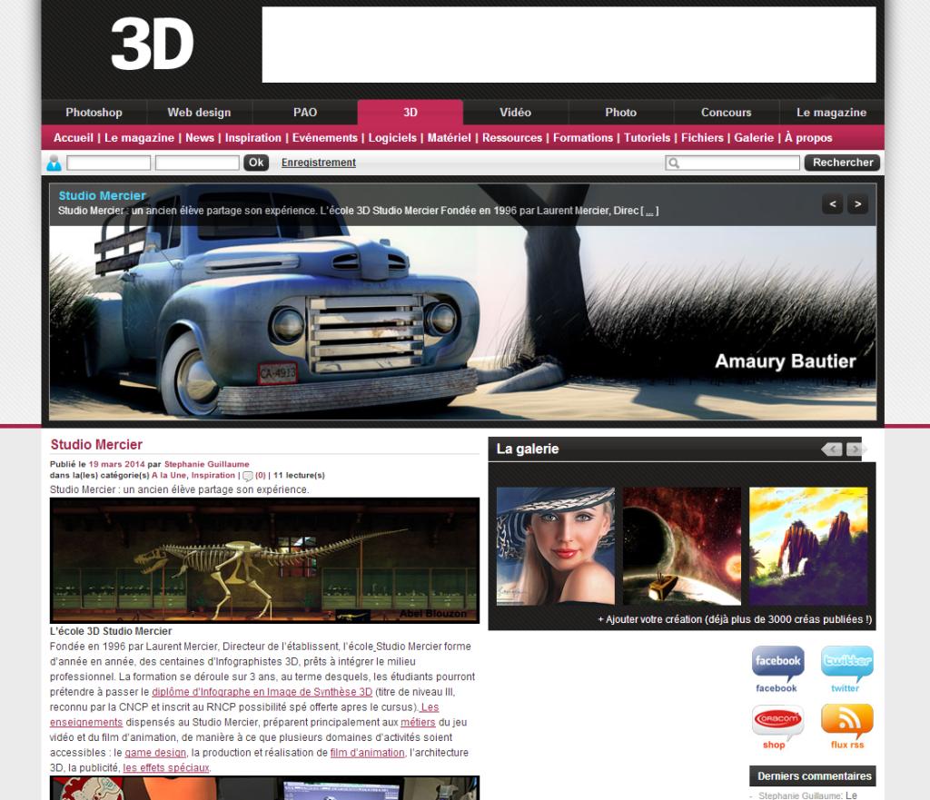 Article sur l'école 3D Studio Mercier pour le magazine 3D MAG