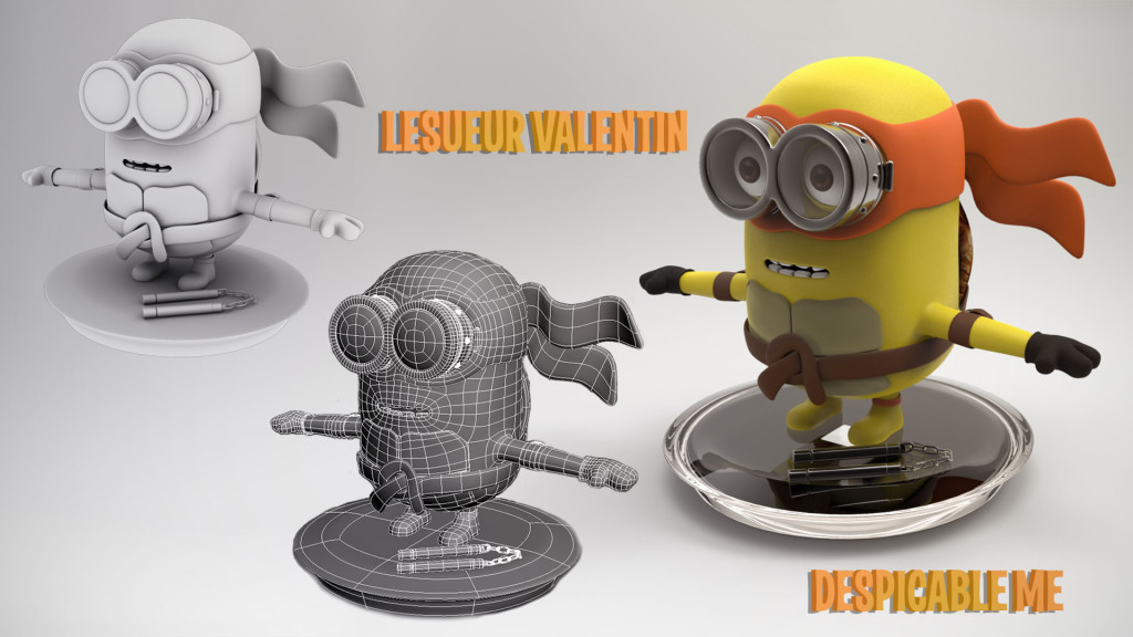 Modélisation d'un Mignon réalisé par Valentin Lesueur, élève en 1ère année à l'école 3D Studio Mercier