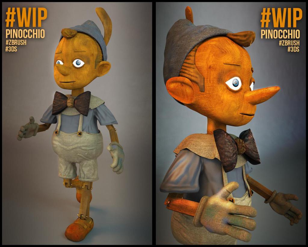 Modélisation de Pinocchio pa Raphael Wessels, élève en 1ère année à l'école 3D Studio Mercier