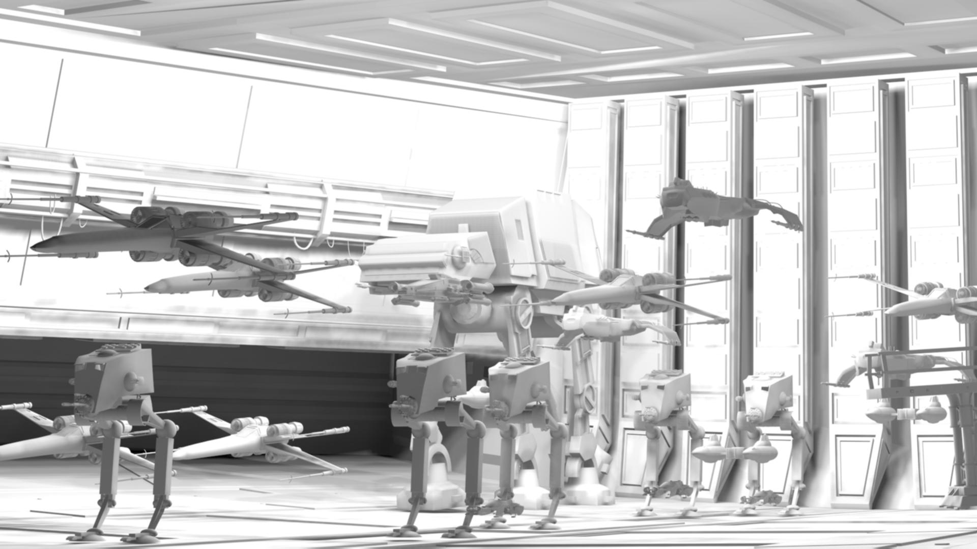 Les 1ère année de l'école 3D Studio Mercier modélisent le hangar de Star Wars