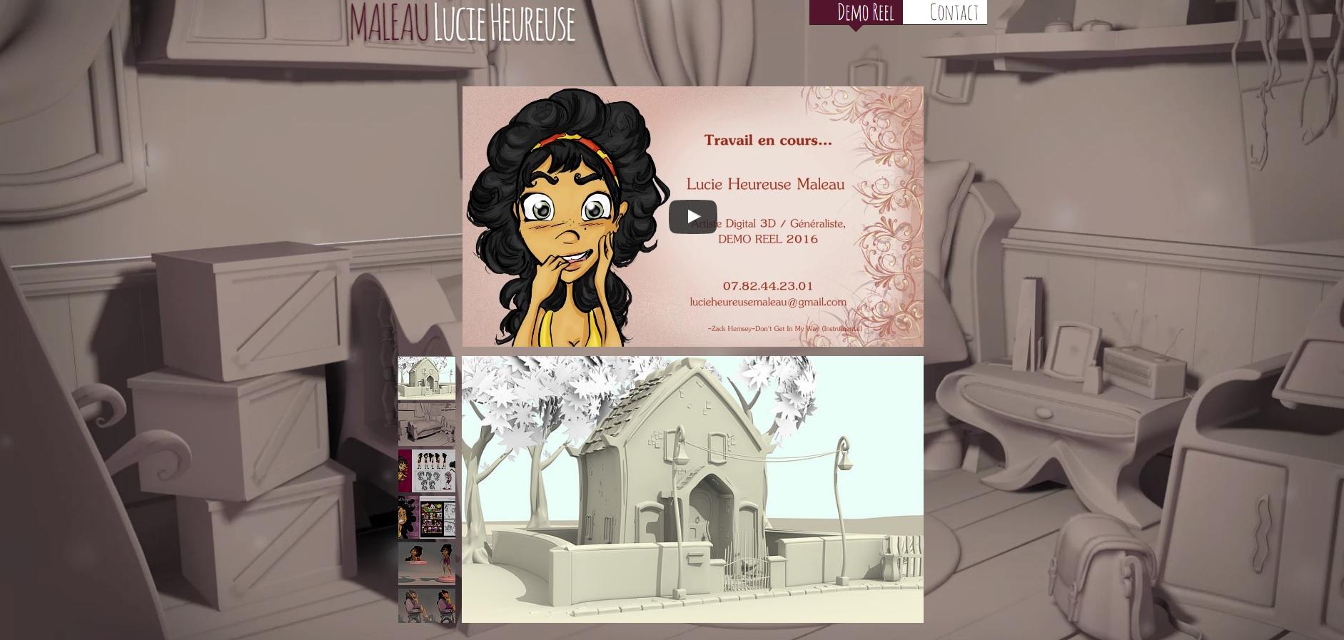 Site Internet de Lucie Heureuse Maleau, élève de l'école 3D Studio Mercier
